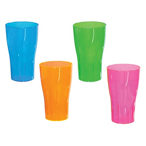 Party Essentials Hard Plastic 16-Ounce Party Cups, Pint Glasses, Assorted Neon, 10 Count