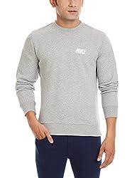 Nike Men's Round Neck Synthetic Sweatshirt (885259257982_545130 063_Large_Grey)