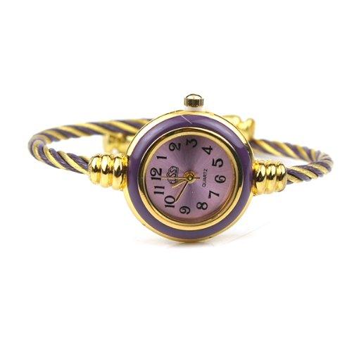 BestOfferBuy Womens Gold Classic Twisted Band Bracelet Round Wrist Watch Purple