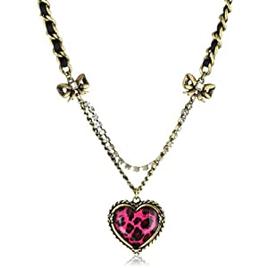Betsey Johnson Fuchsia Leopard Fuchsia Leopard Heart Pendant Necklace