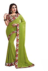 Fashion205 Women Chiffon Saree (TOK-AR7-1036-F_Green_Green_Free Size)