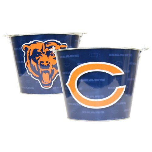 Chicago Bears Nfl Metal Logo Repeater Beer Bucket With Handle (Holds 6 Longneck Bottles With Ice) front-594123
