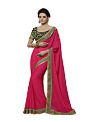 Alluring Pink Chiffon Saree With Blouse