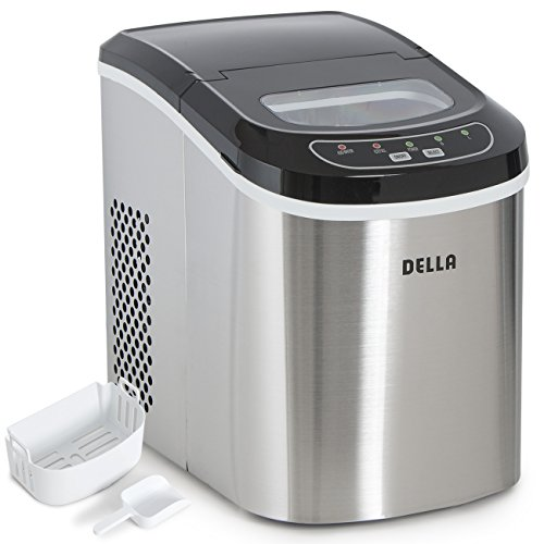 Della Portable Ice Maker Easy-Touch Buttons 2 Selectable Cube Sizes - Up To 26 LBS of Ice Daily -Stainless Steel (Indoor Ice Maker compare prices)