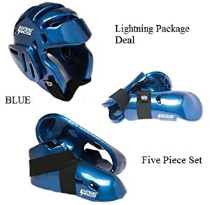 Lightning BLUE Karate Sparring Gear Package Deal - Child Medium by Lightning Pro Force