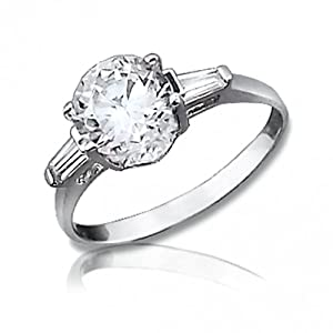 Bling Jewelry 2.75-ct Diamond CZ Sterling Silver Baguette Sidestones Engagement Ring