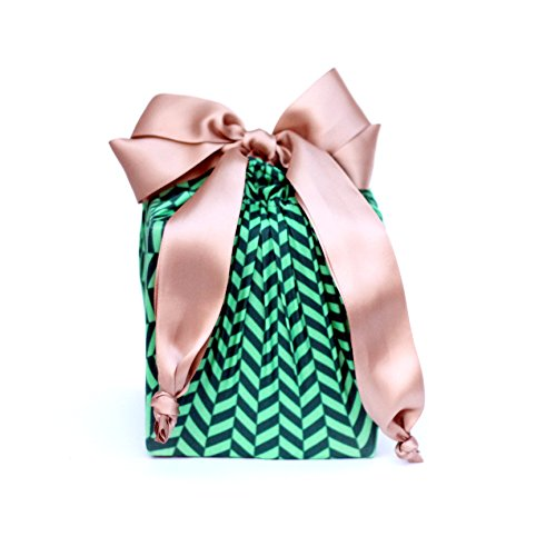 Lilywrap Eco-friendly, Reusable Stretchy Fabric Gift Wrap, Green Herringbone Small/Medium Combo Pack , 2 Count (Lilly Bow Ties compare prices)