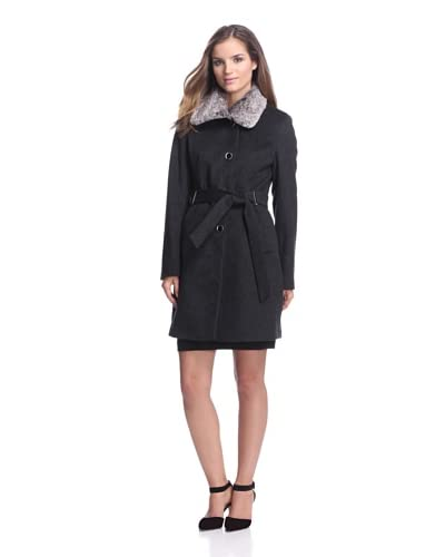 Calvin Klein Women's Belted Coat with Faux Fur Collar