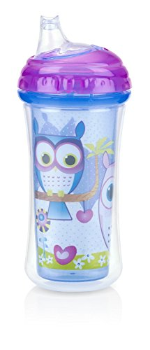 Nuby Insulated No-Spill Silicone Spout Clik it Cup, 6 Months Plus, Purple
