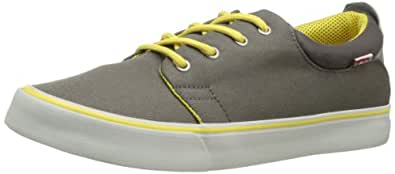 Levis Men's Justin Energy Fashion Sneaker,Grey/Yellow,8 M US