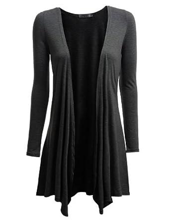 Doublju Knit Shawl Cardigans with Drape Details CHARCOAL (US-S)