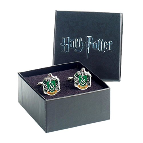 Ufficiale Warner Bros Harry Potter Slytherin Crest argento placcato gemelli