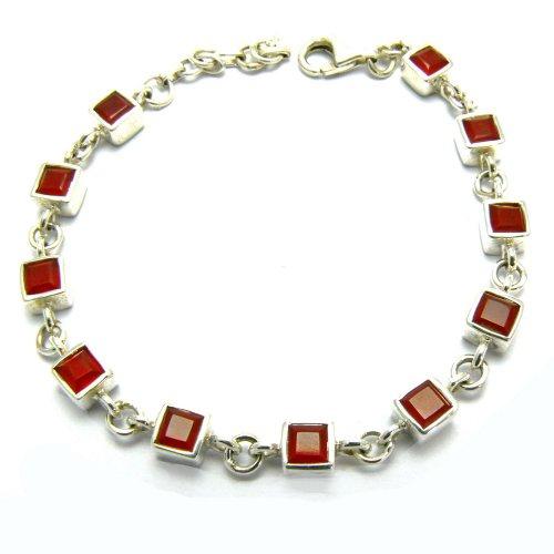 Franki Baker Square Cut Red Onyx and Edinburgh Assayed 925 Sterling Silver Tennis Bracelet