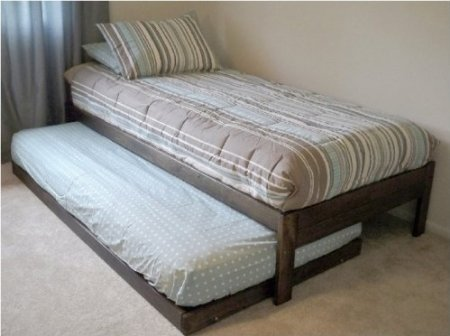 Santa Cruz Extra Long Twin Bed With Twin Trundle (Rustic Walnut)