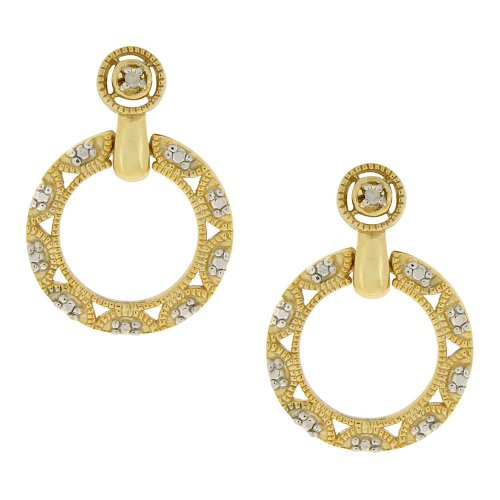 18k Yellow Gold Plated Sterling Silver Diamond Accent Filigree Open Circle Drop Post Earrings