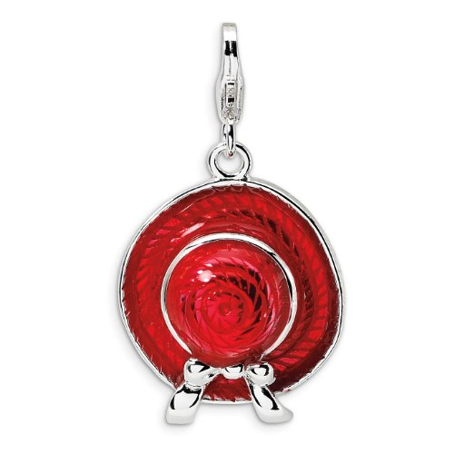 Sterling Silver 3-D Enameled Red Hat With Lobster Clasp Charm - Measures 31x18mm - JewelryWeb