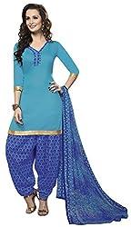 Jiya Presents Crepe Dress Material (Sky Blue,Blue)