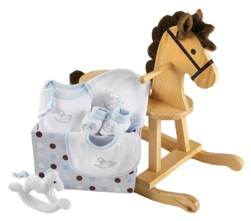 Baby's Store |   Baby Aspen Rockabye Baby Rocking Horse with Plush Toy and Layette Gift Set – Blue
