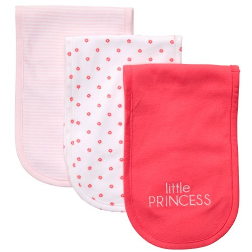 "Carter's 3 Pack Baby Burp Cloths. Girl ""little PRINCESS"" (Pink/floral)"