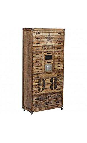 Kare design - Chiffonnier à roulettes vintage bois et acier Venezia
