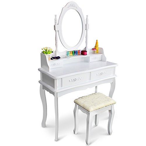 Buy Bargain Tribesigns Makeup Vanity Table Set Bedroom Dressing Table with Stool and Mirror (1 Mirro...