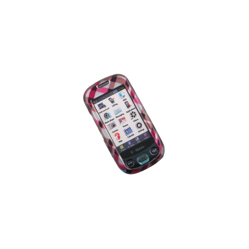 Crystal Hard Pink Cover with Checkered Design Case for Samsung Highlight SGH T749 T Mobile + Swivel Belt Clip [WCM446]