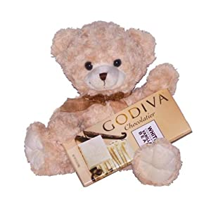 Cream Puff the Teddy Bear & Godiva White Chocolate Bar Holiday Gift