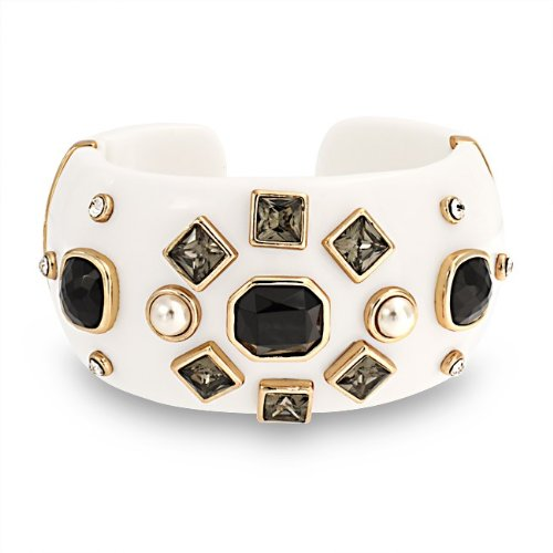 Bling Jewelry White Pearl Black Crystal Wide Cuff Bracelet