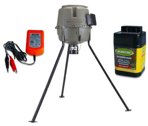 MOULTRIE 30 Gallon EZ Fill Quick Lock Tripod Game Feeder + 6V Battery & Charger