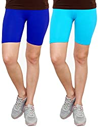 Goodtry Women's Cycling Shorts Pack of 2 Turquouise Blue-Royal Blue