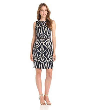 Anne Klein Women's Peacock Ikat Sheath Dress, Navy Combo, 10