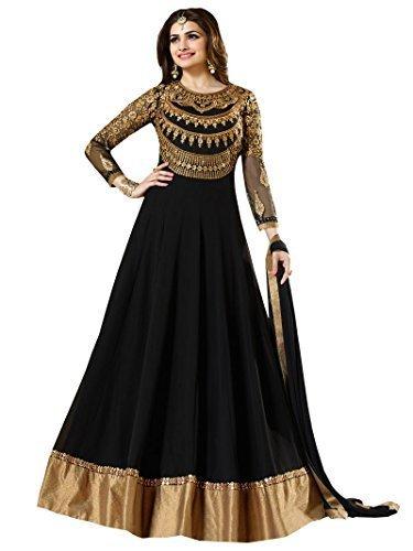 MK Enterprise Prachi desai black Neck Embroidered Long anarkali suit with Designer Neck Embroiderd Dimond