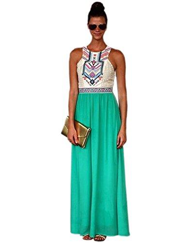 Women Summer Bohemian Maxi Dress Tribal Print Full Length Dresses