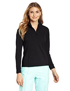 Sport Haley Women's Aerocool Honeycomb Long Sleeve Zip Mock Polo Shirt, Black, Small