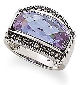 Sterling Silver Domed Lavender CZ and Marcasite Ring / Size 8