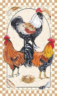 Pretty Boy Roosters Single Toggle SwitchStix Peel and Stick Switch Plate Cover Décor