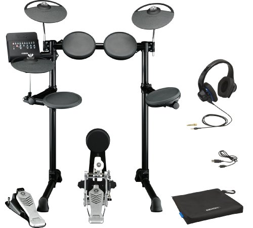 Yamaha Dtx450K Electronic Drum Kit Bundle With Denon Urban Raver High Performance On-Ear Headphones