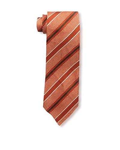 Kiton Men's Striped Tie, Orange/Brown