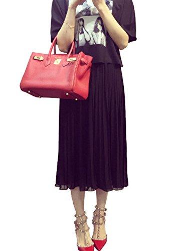 LUSIR ( ルシール ) レディース ミモレ丈 シフォン プリーツ スカート スカーチョ ガウチョ スカンツ ワイドレッグ パンツ ブラック