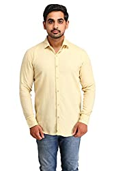 Snoby yellow plain cotton shirt SBY8067