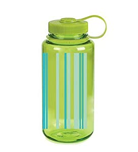 Nalgene Wide Mouth Bottle with Stripes (Sping Green, 1-Quart)
