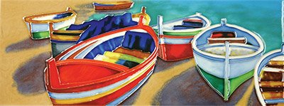 Colourful Boats II a Benaya ceramic art tile as if they are alive with detail bold colours a perfect decorative wall tile decorative wall tile gift purchase