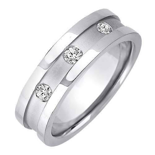 0.12ct Sterling Silver Classic Triple Round Cut Diamonds Wedding Band Size - 13