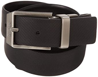 Kenneth Cole REACTION Mens Textured Casual Reversible Belt With Matte Nickel Buckle, Black, 34