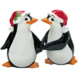 Westland Giftware Mwah Magnetic Christmas Penguins Salt And Pepper Shaker Set, 3-1/2-Inch