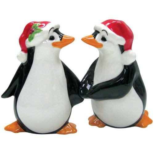 Westland Giftware Mwah Magnetic Christmas Penguins Salt and Pepper Shaker Set, 3-1/2-Inch