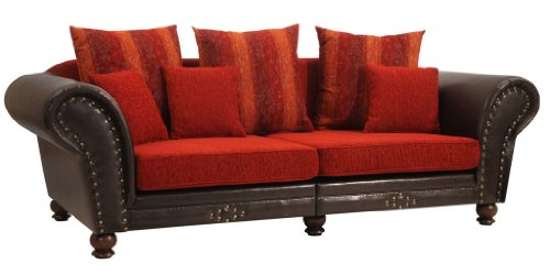 big sofa carmen xxl sofa kolonial mediterane optik chenille rot. Black Bedroom Furniture Sets. Home Design Ideas