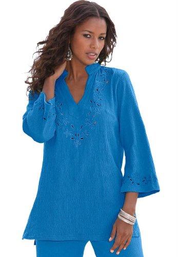 Roamans Women's Plus Size Crinkle Knit Gauze Tunic