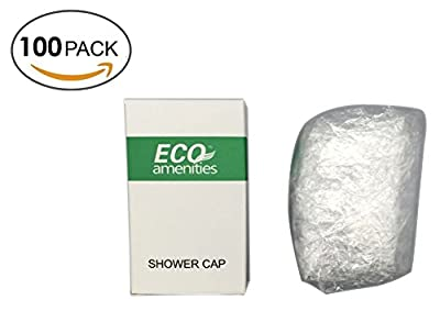 ECO Amenities Disposable Clear Shower Caps, Individually Wrapped Paper Box, Full Size Adult, 100 Caps per Case
