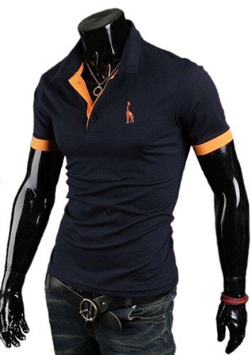 (ライセンス)RAiseNsE 半袖ポロシャツ カジュアル シンプル シャツ #TP106 L ネイビー